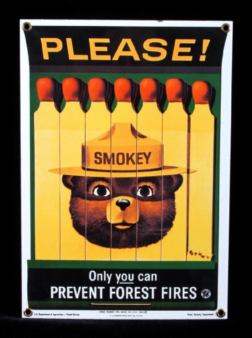 Smokey Bear U.S. Forest Service Porcelain Sign - 10