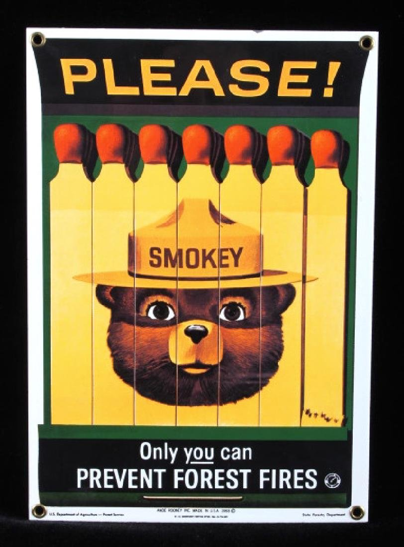 Smokey Bear U.S. Forest Service Porcelain Sign