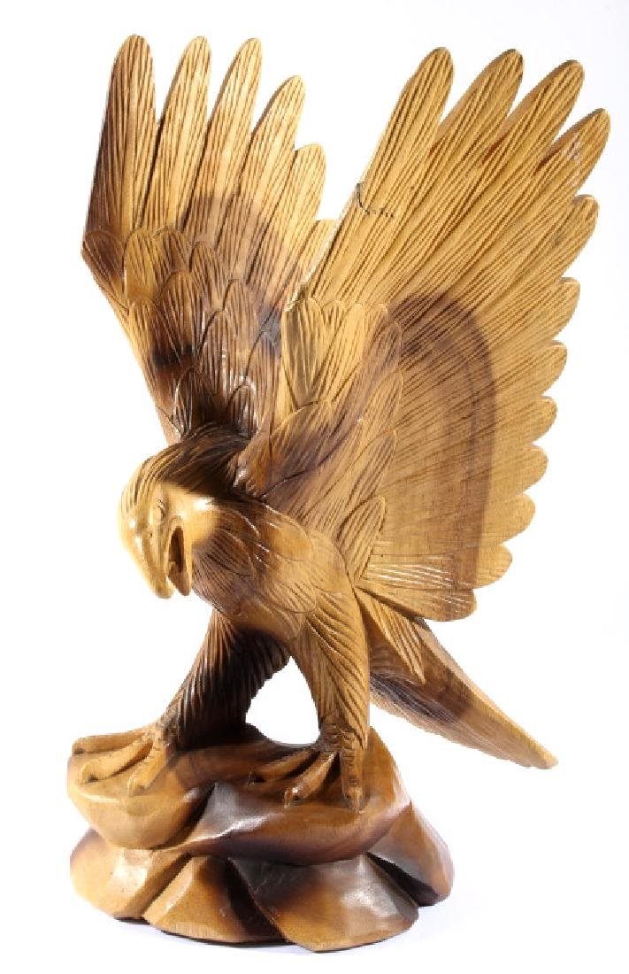 Solid Wood Carved Eagle Sculpture