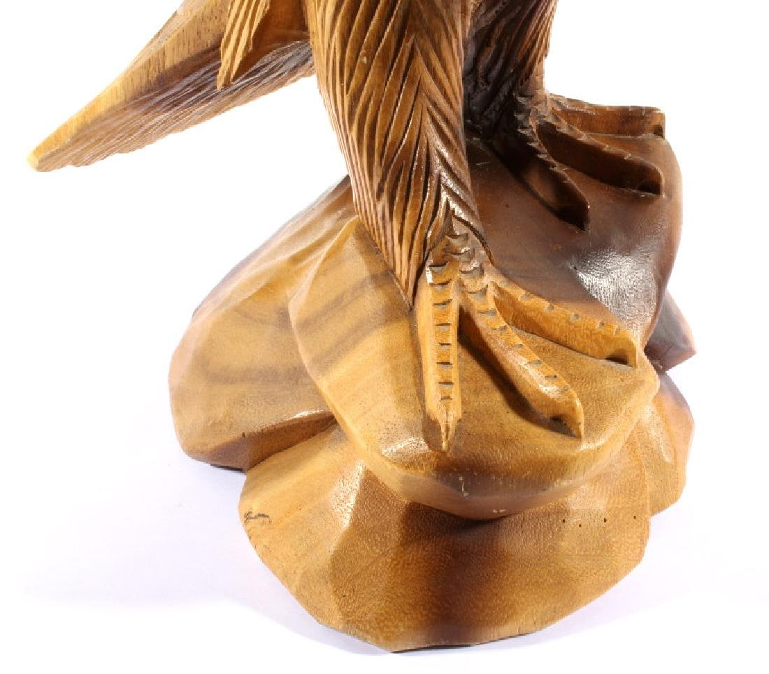 Solid Wood Carved Eagle Sculpture - 3