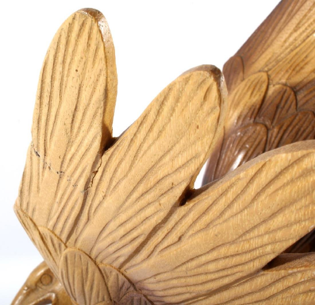 Solid Wood Carved Eagle Sculpture - 7
