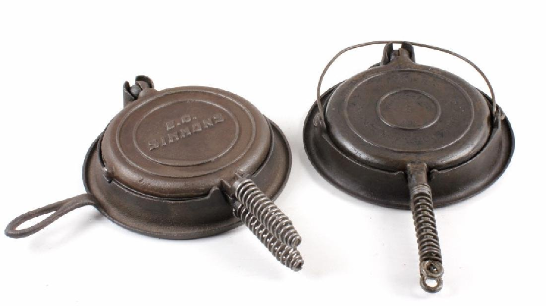 Wagner and E.C. Simmons Waffle Irons with bases