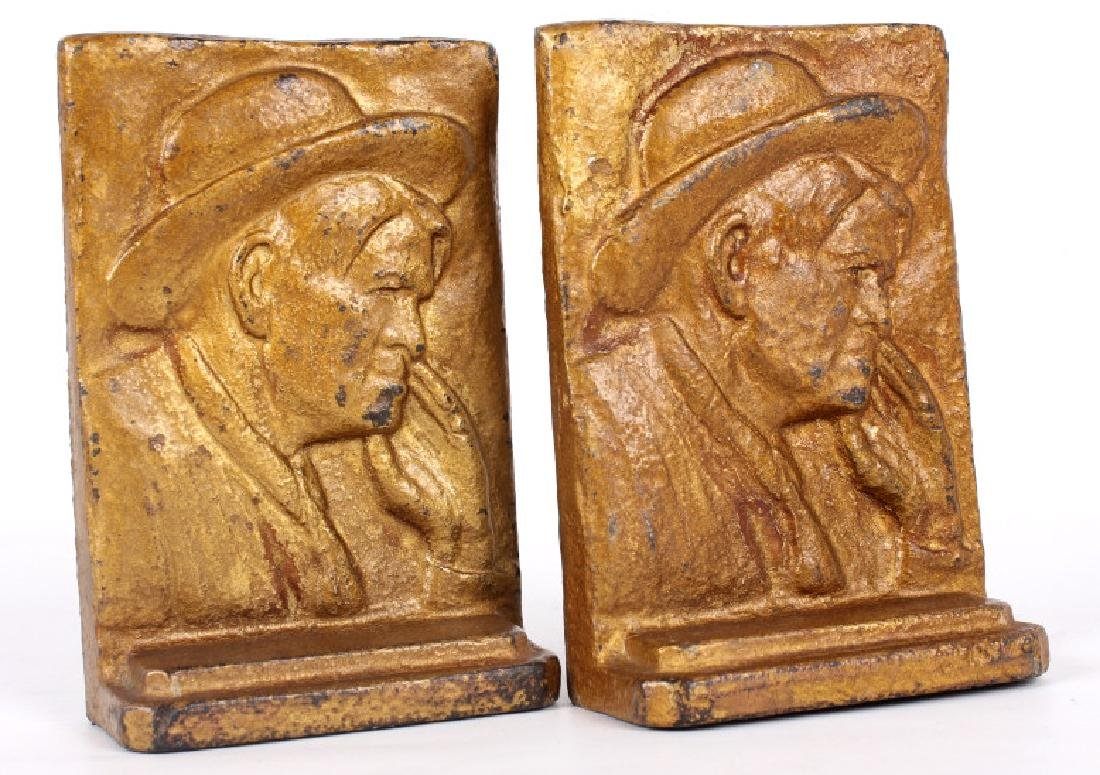 Vintage Charlie Russell Cast Iron Bookends