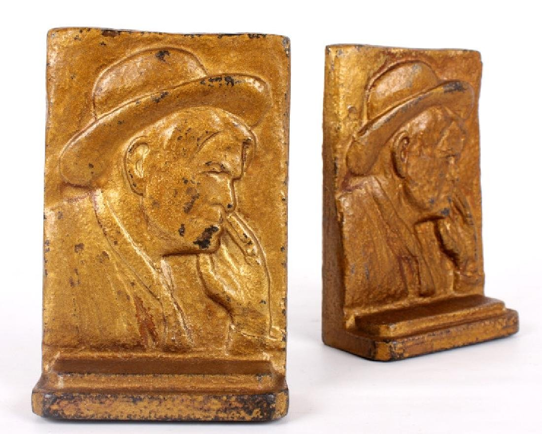 Vintage Charlie Russell Cast Iron Bookends - 6