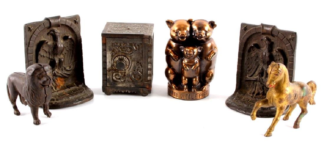 Antique Cast Iron/ Metal Banks And Bookends