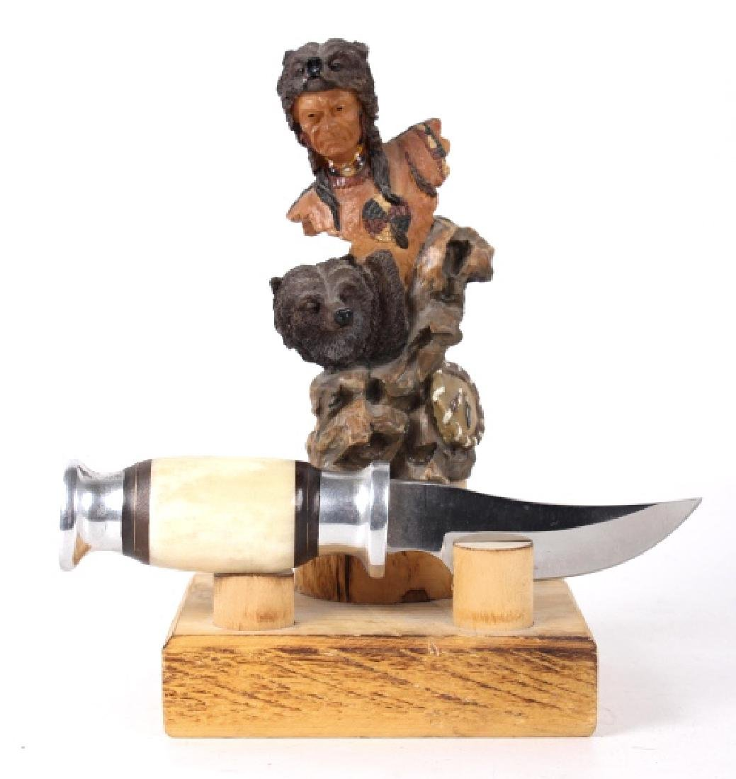 Bone Handled Knife with Stand