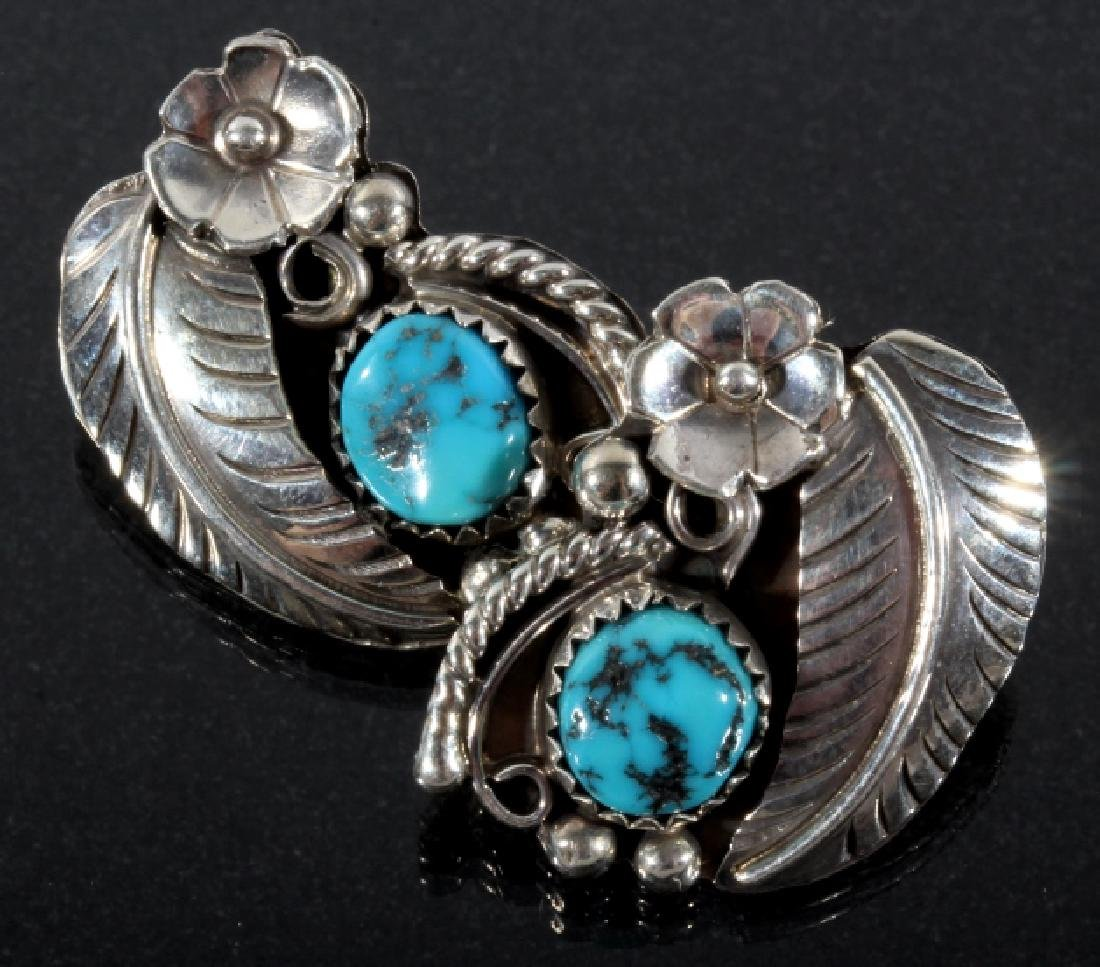Navajo Silver & Turquoise Floral Earrings & Ring - 2