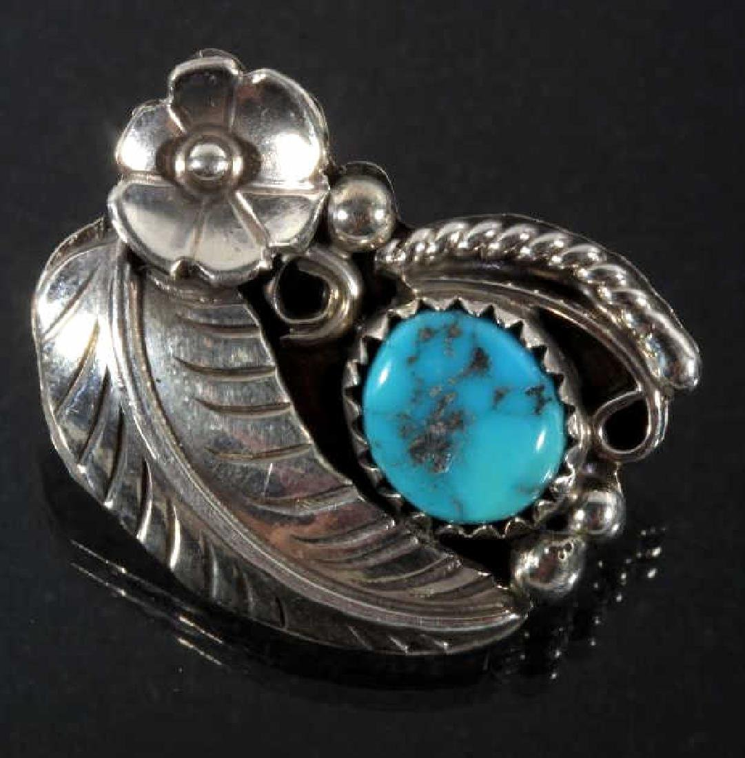 Navajo Silver & Turquoise Floral Earrings & Ring - 3