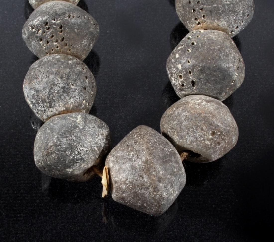 Large Lava Bead Necklace Circa mid-1800's - 4