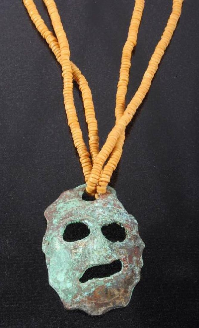 Mississippian Culture Copper Effigy Necklace - 2