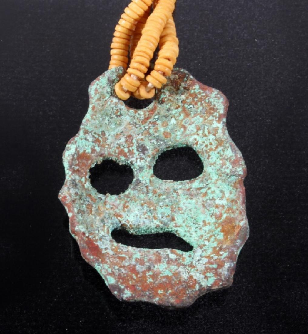 Mississippian Culture Copper Effigy Necklace - 5