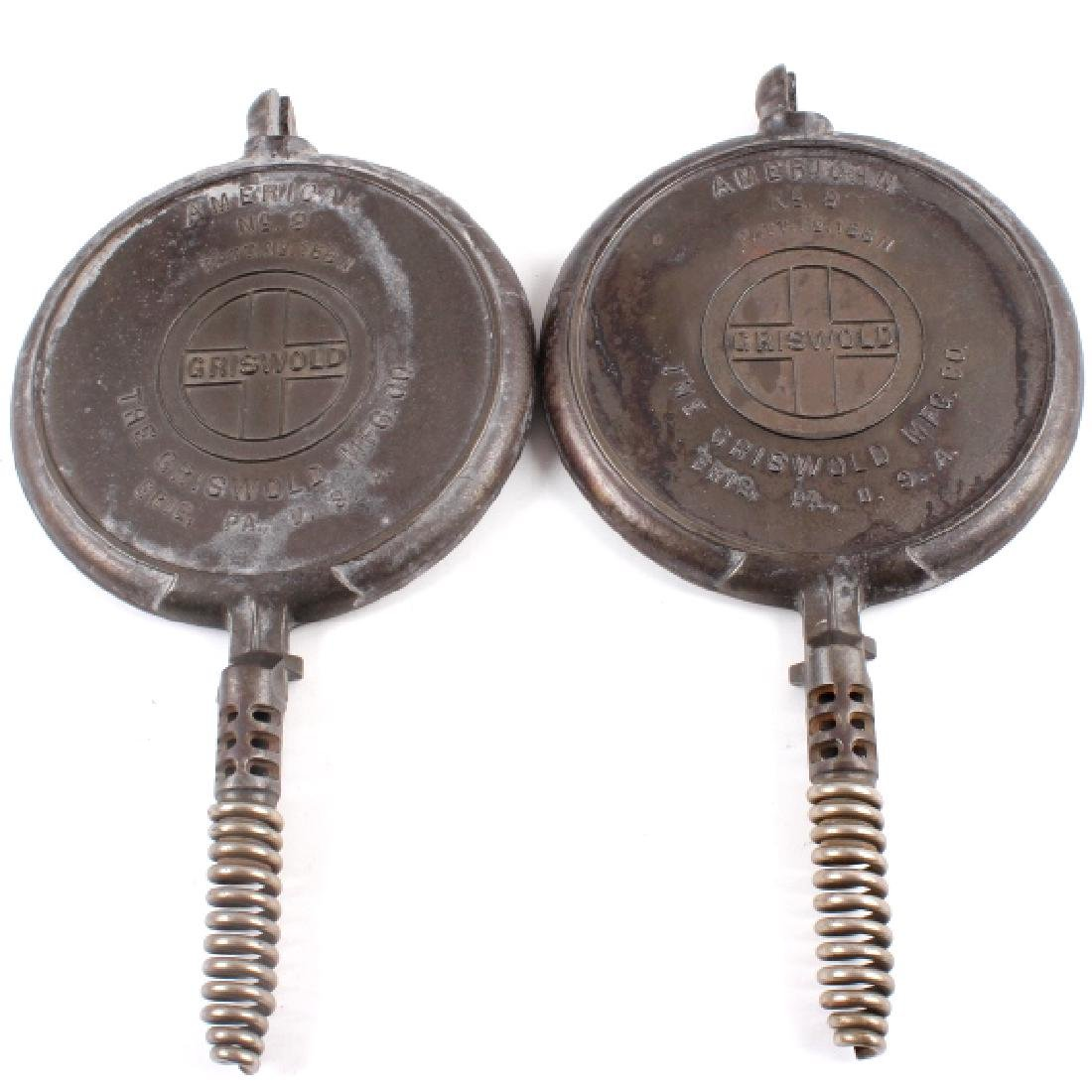 Pair of Griswold Number 9 Waffle Makers with base - 10