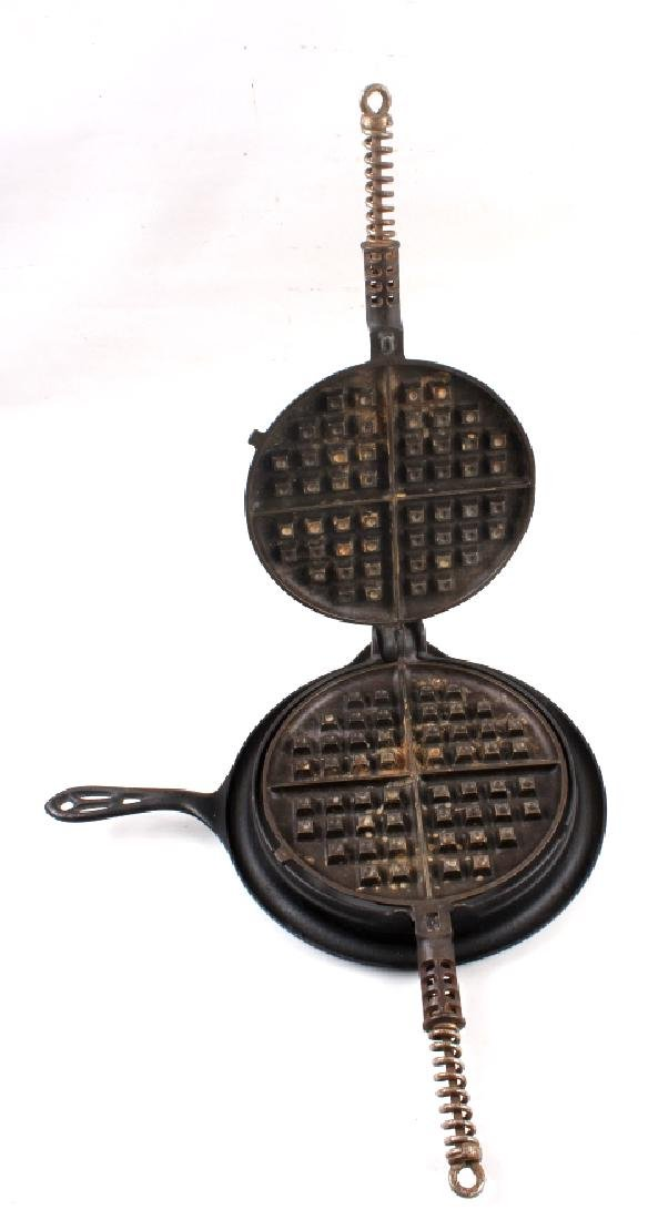 Pair of Griswold Number 9 Waffle Makers with base - 3