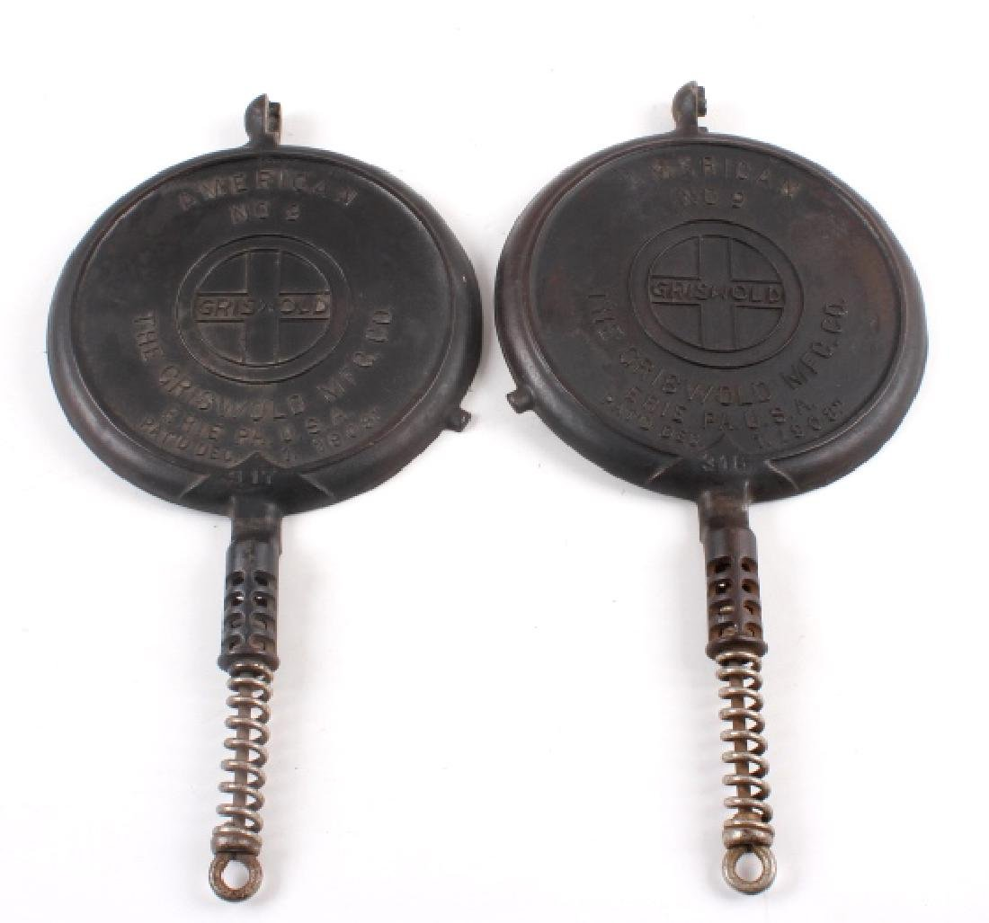 Pair of Griswold Number 9 Waffle Makers with base - 5