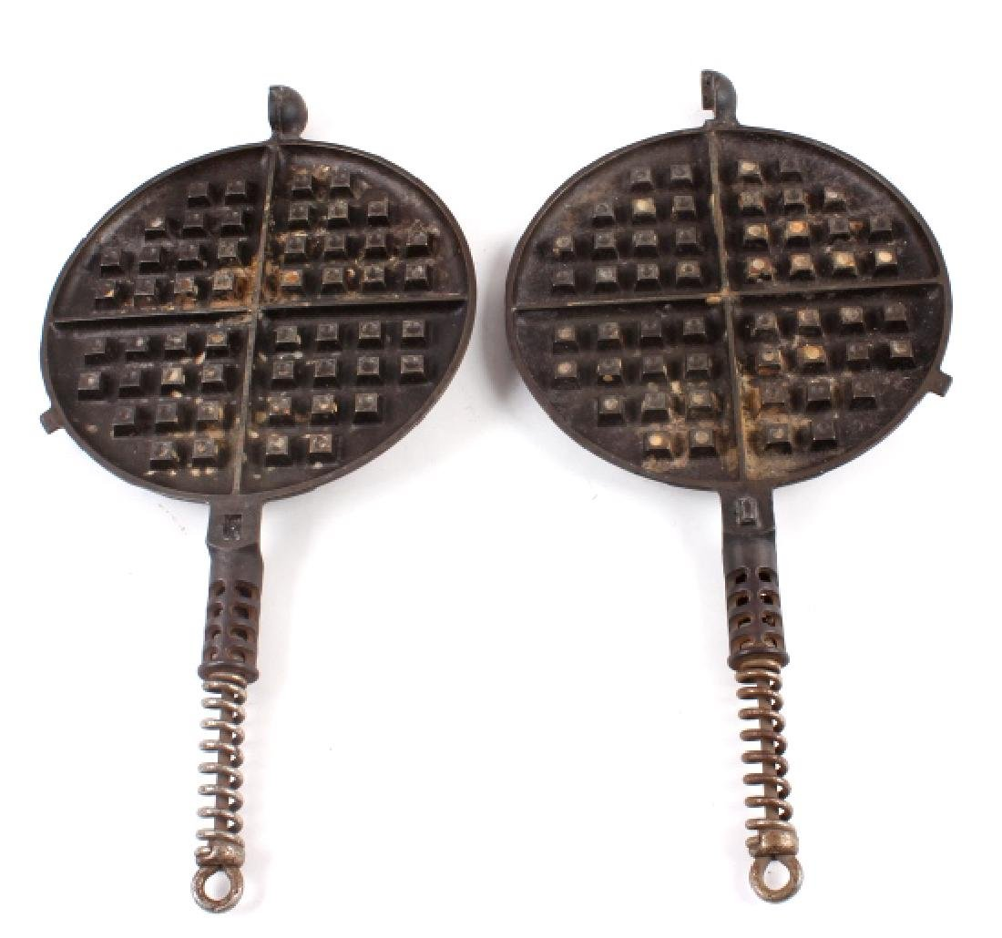 Pair of Griswold Number 9 Waffle Makers with base - 6