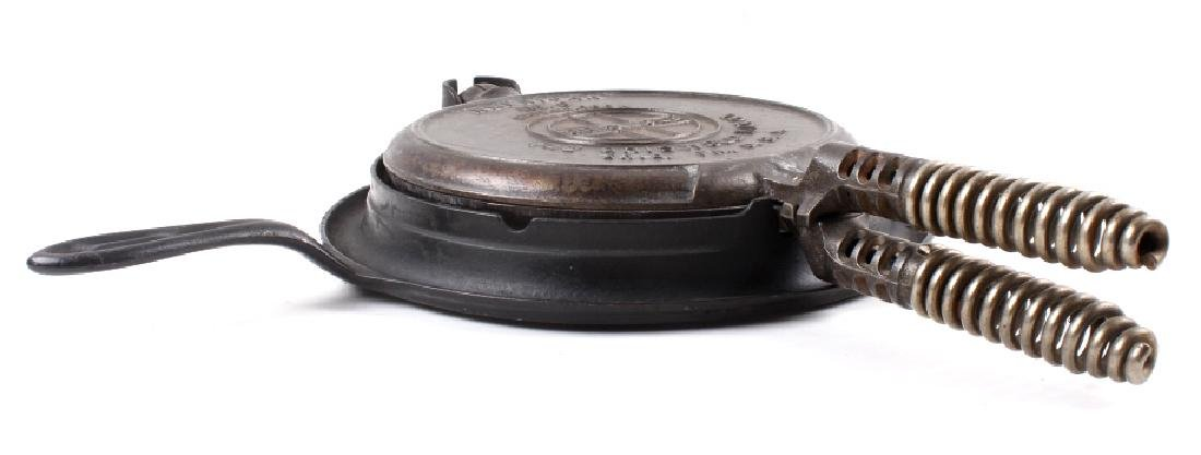 Pair of Griswold Number 9 Waffle Makers with base - 7