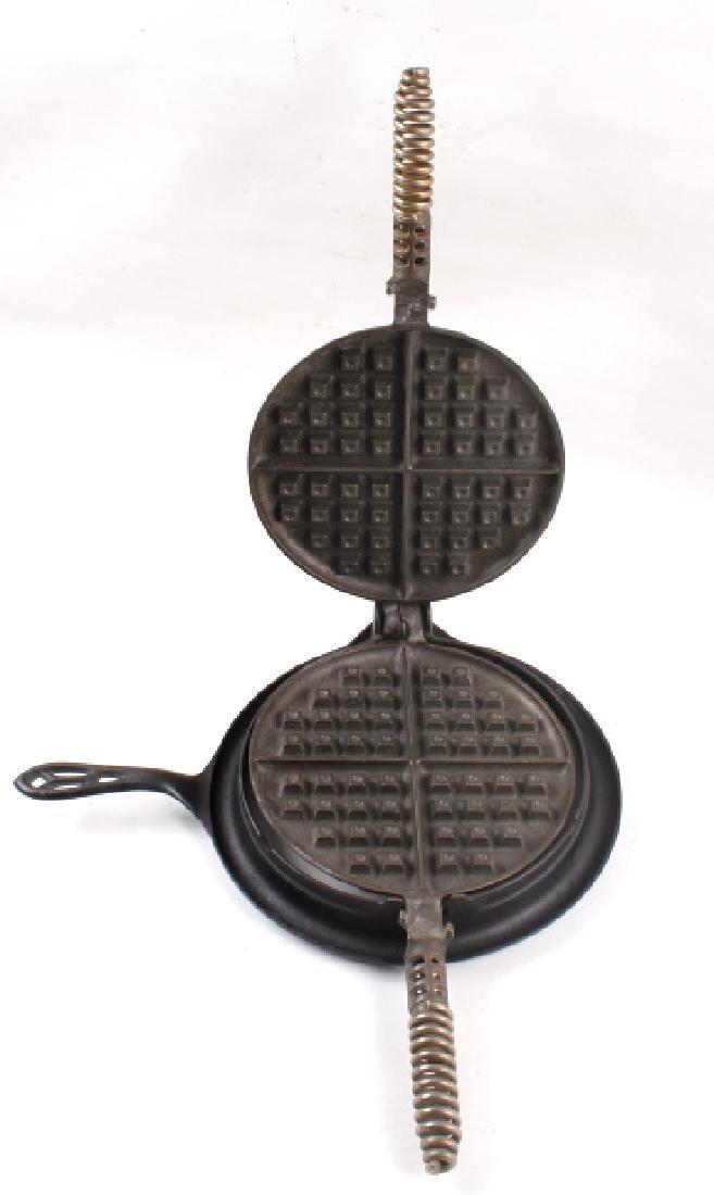 Pair of Griswold Number 9 Waffle Makers with base - 8