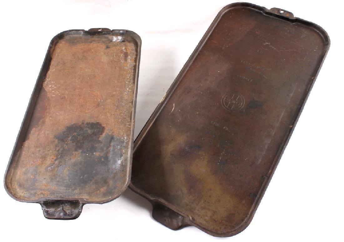 Griswold Number 9 & 10 Antique Cast Iron Griddles - 2