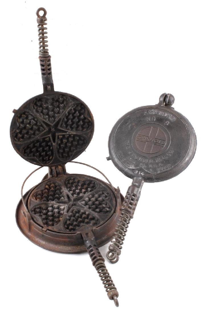 Griswold #8/#18 Heart Star & American Waffle Irons