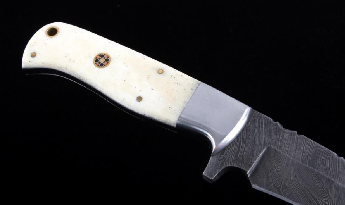 CFK Damascus Exotic Camel Bone Knife & Scabbard - 5