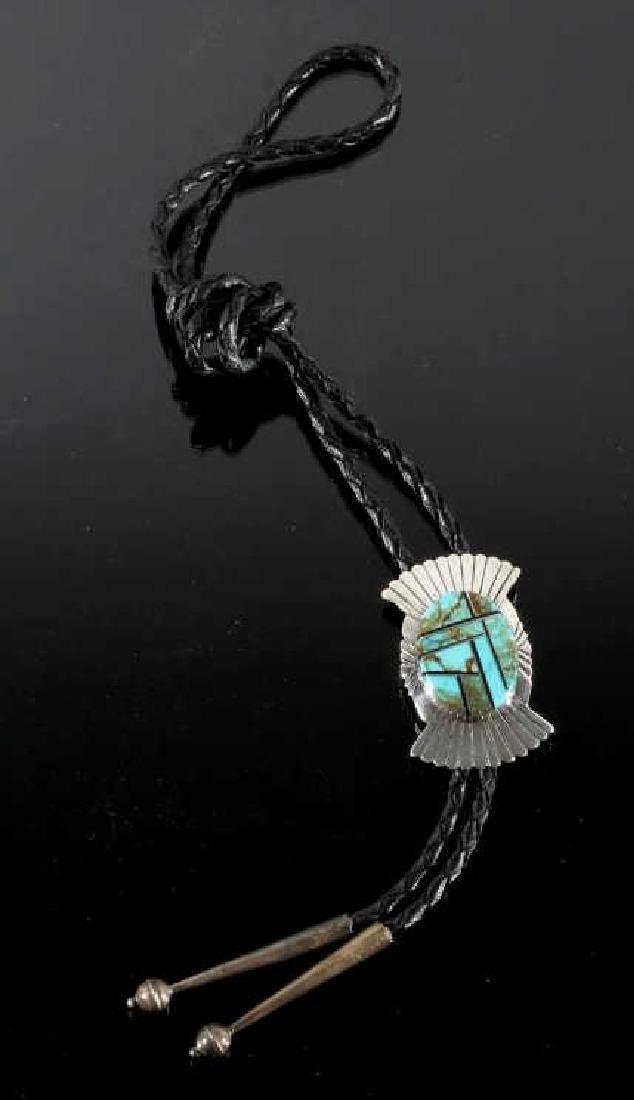 Navajo Silver & Mosaic Royston Turquoise Bolo-Tie