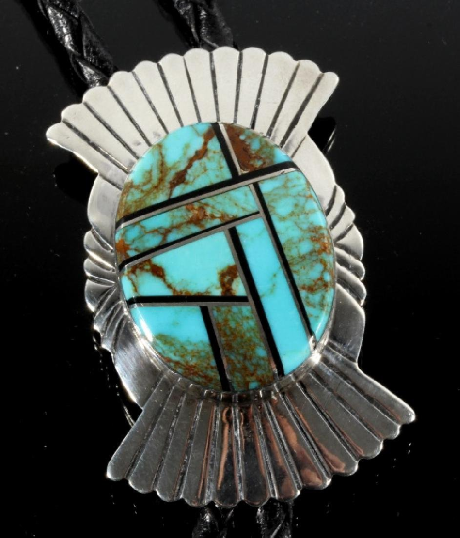 Navajo Silver & Mosaic Royston Turquoise Bolo-Tie - 2