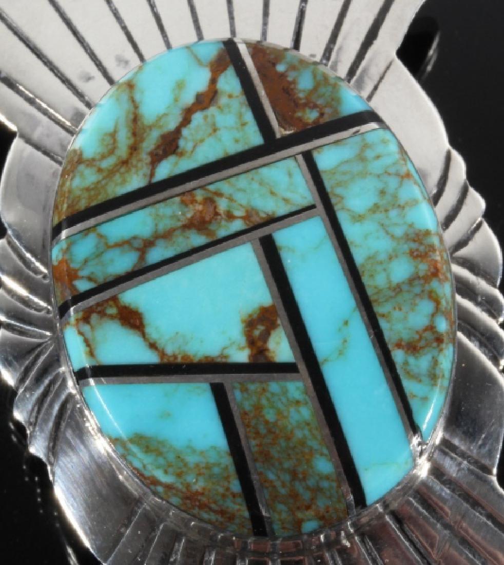 Navajo Silver & Mosaic Royston Turquoise Bolo-Tie - 4