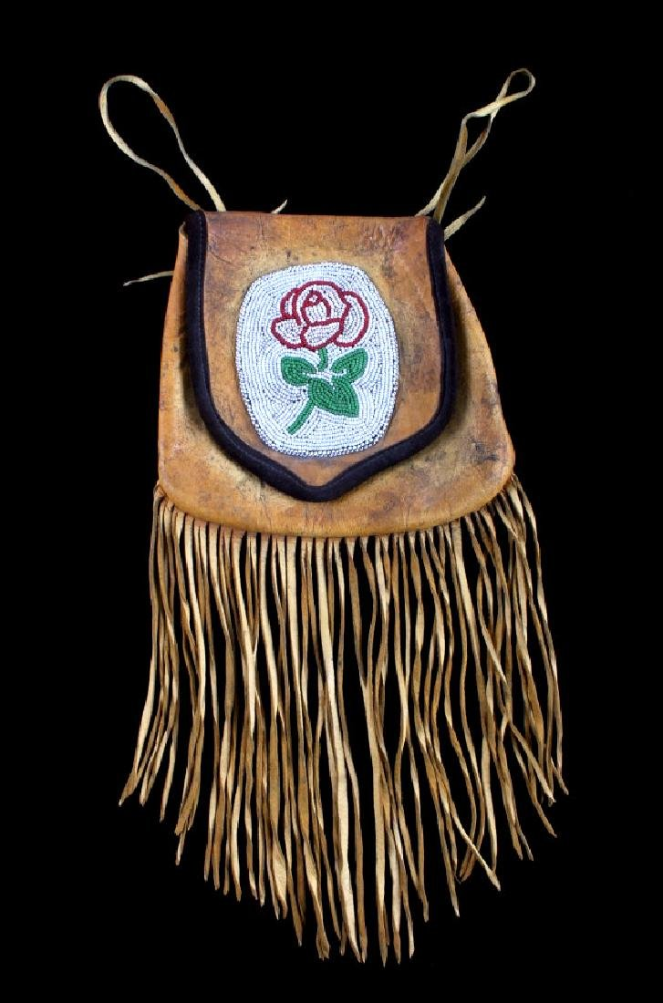 Plains Indian Floral Beaded Buckskin Bag