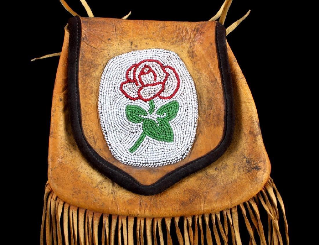 Plains Indian Floral Beaded Buckskin Bag - 2