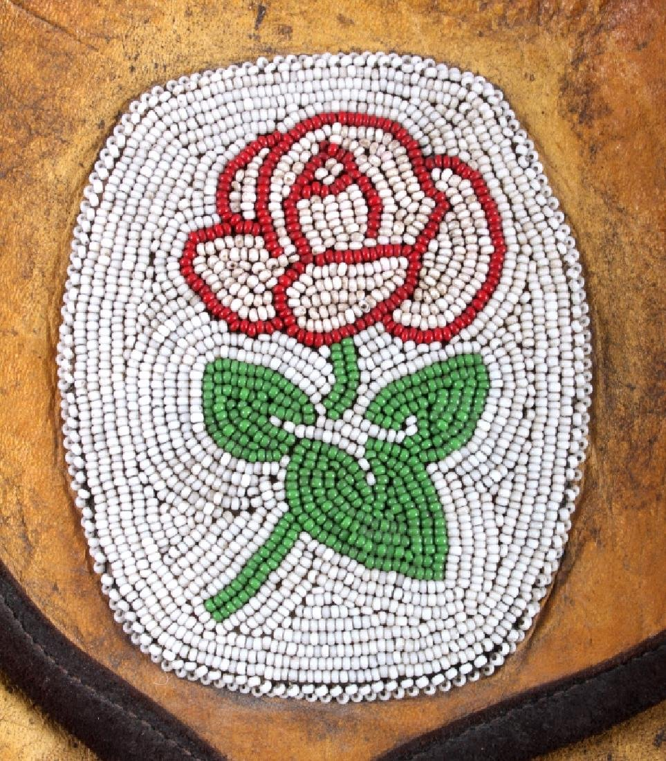 Plains Indian Floral Beaded Buckskin Bag - 3