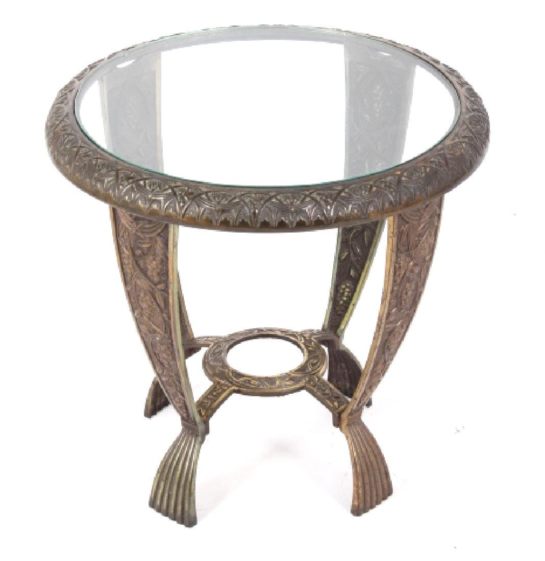 Elaborate Cast Iron & Brass Round End Table