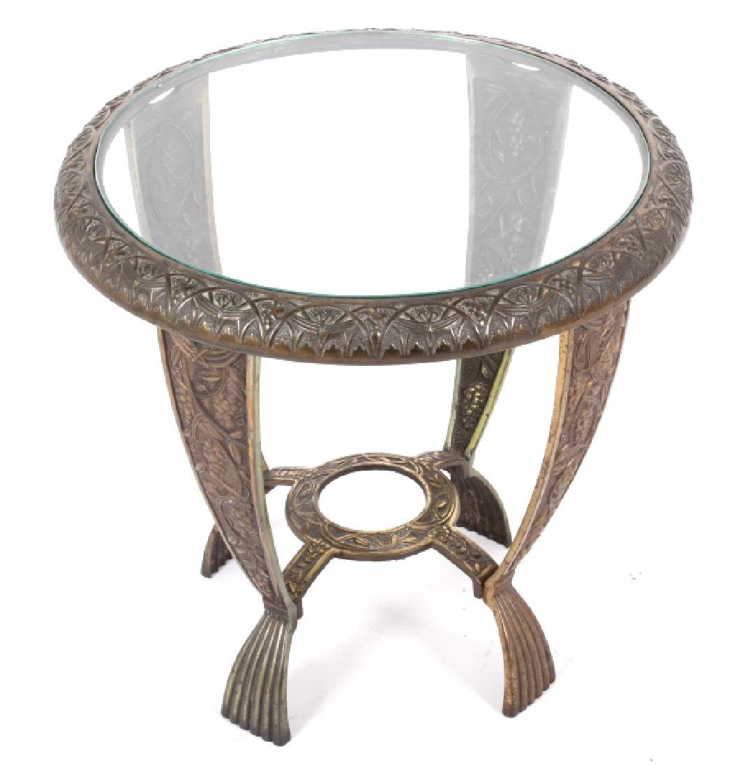 Elaborate Cast Iron & Brass Round End Table - 2