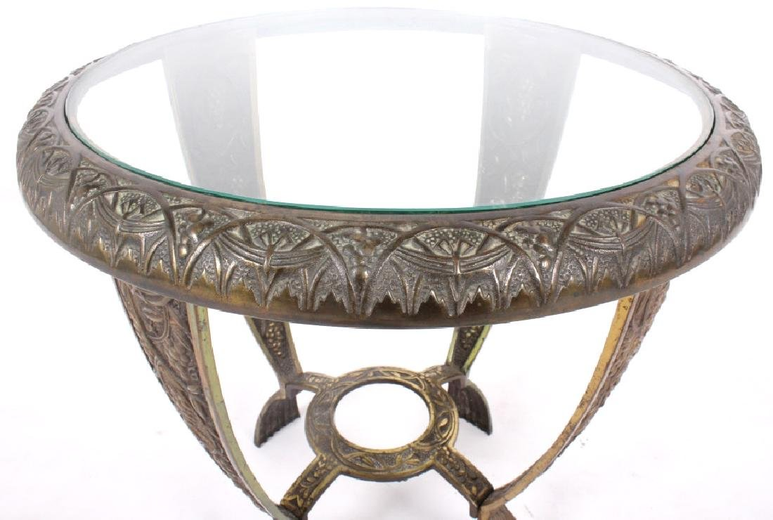 Elaborate Cast Iron & Brass Round End Table - 8