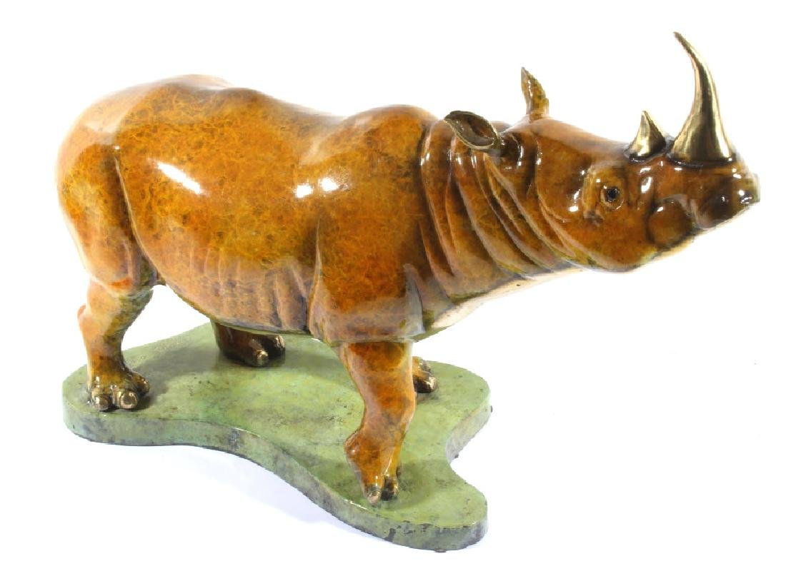 Signed Marius Lost-Wax Cast Bronze Rhino Sculpture