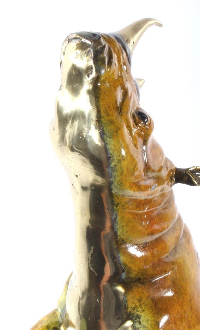Signed Marius Lost-Wax Cast Bronze Rhino Sculpture - 7