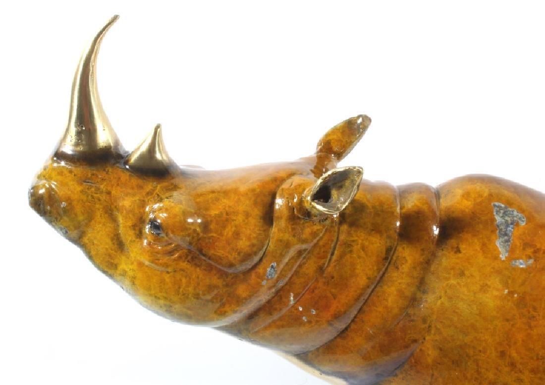Signed Marius Lost-Wax Cast Bronze Rhino Sculpture - 9