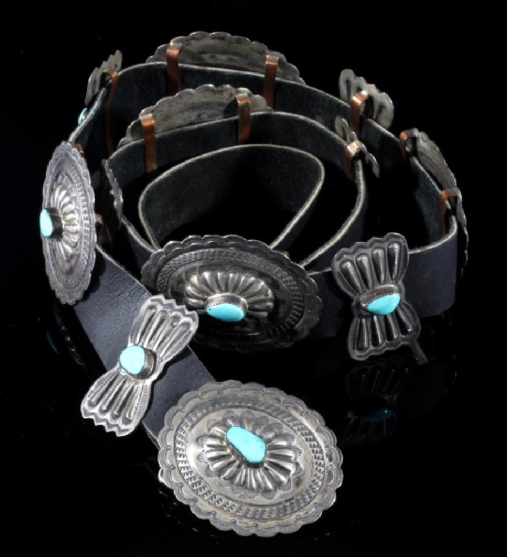 Navajo 3rd Phase Sterling & Turquoise Concho Belt