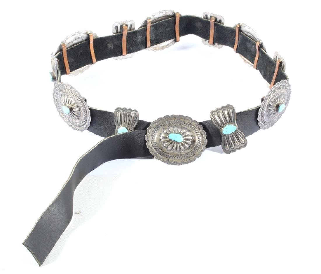 Navajo 3rd Phase Sterling & Turquoise Concho Belt - 2