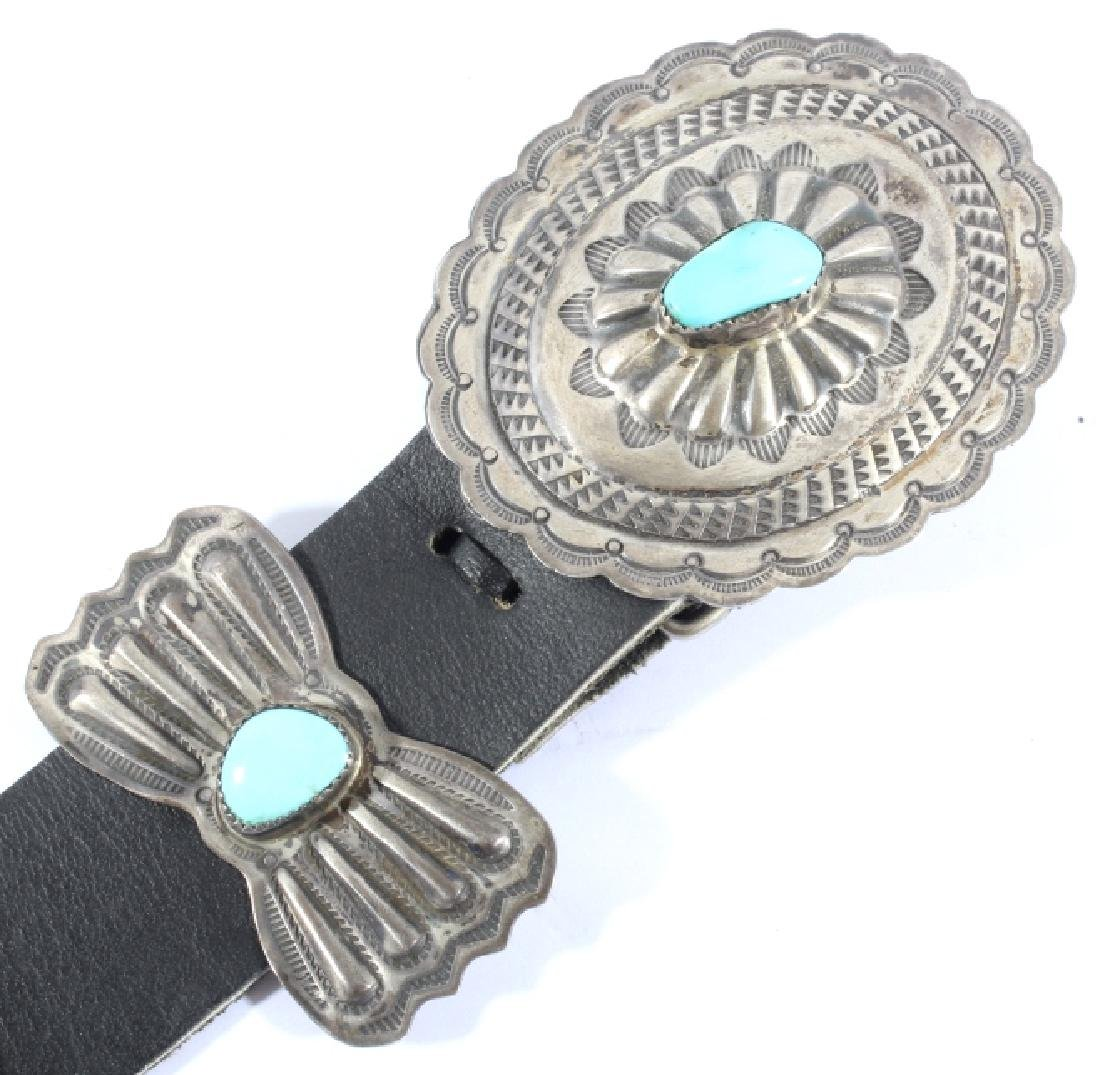 Navajo 3rd Phase Sterling & Turquoise Concho Belt - 4