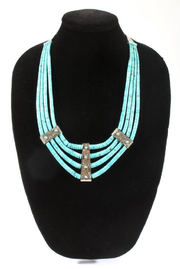 Navajo Morenci Turquoise Multistrand Necklace