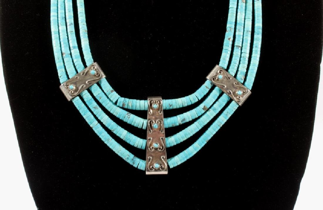 Navajo Morenci Turquoise Multistrand Necklace - 2