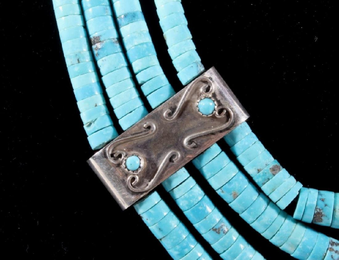 Navajo Morenci Turquoise Multistrand Necklace - 5