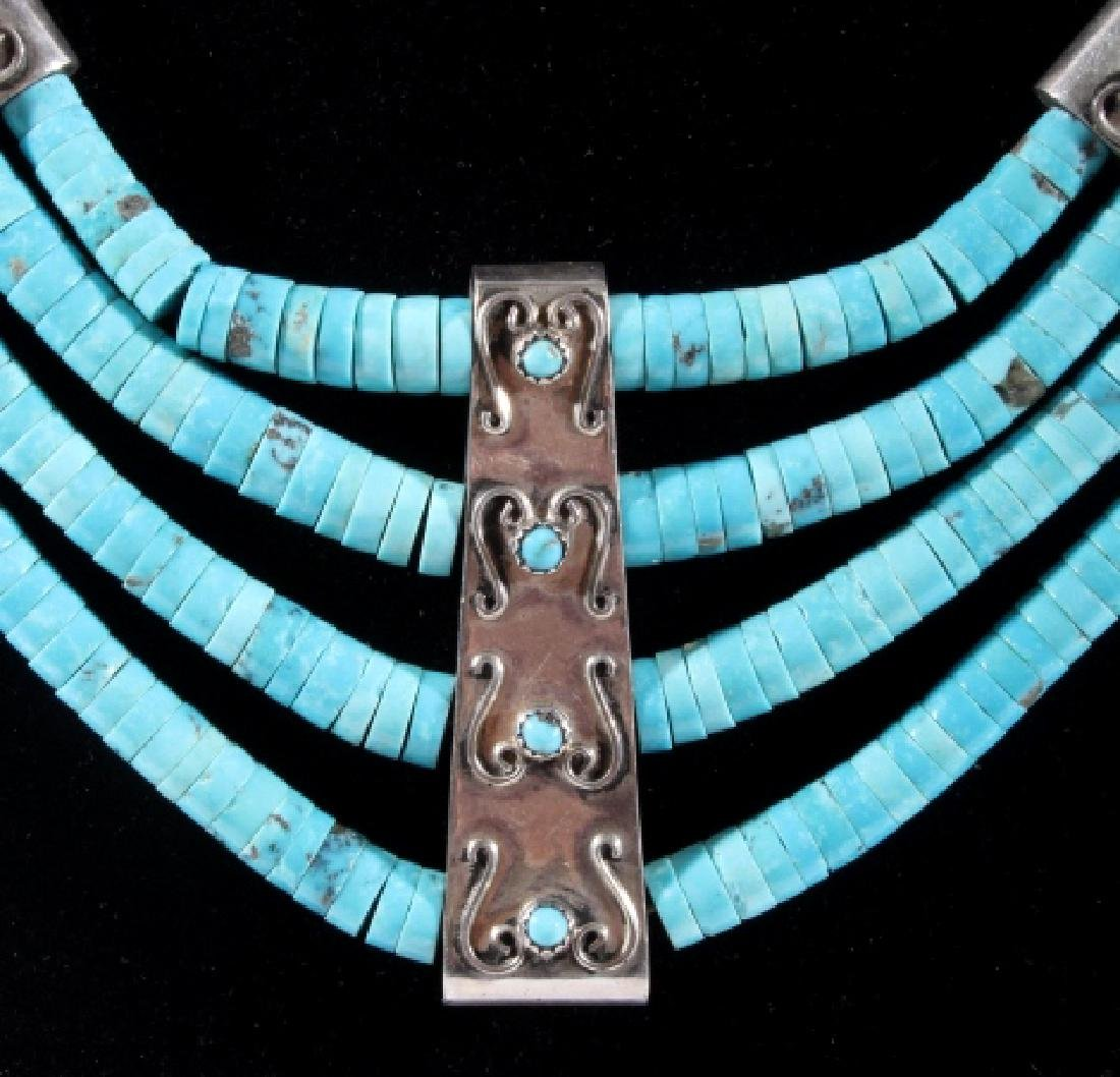Navajo Morenci Turquoise Multistrand Necklace - 6
