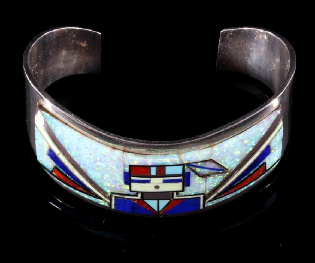 RJ Edaakie Zuni Multistone Mosaic & Sterling Cuff - 5