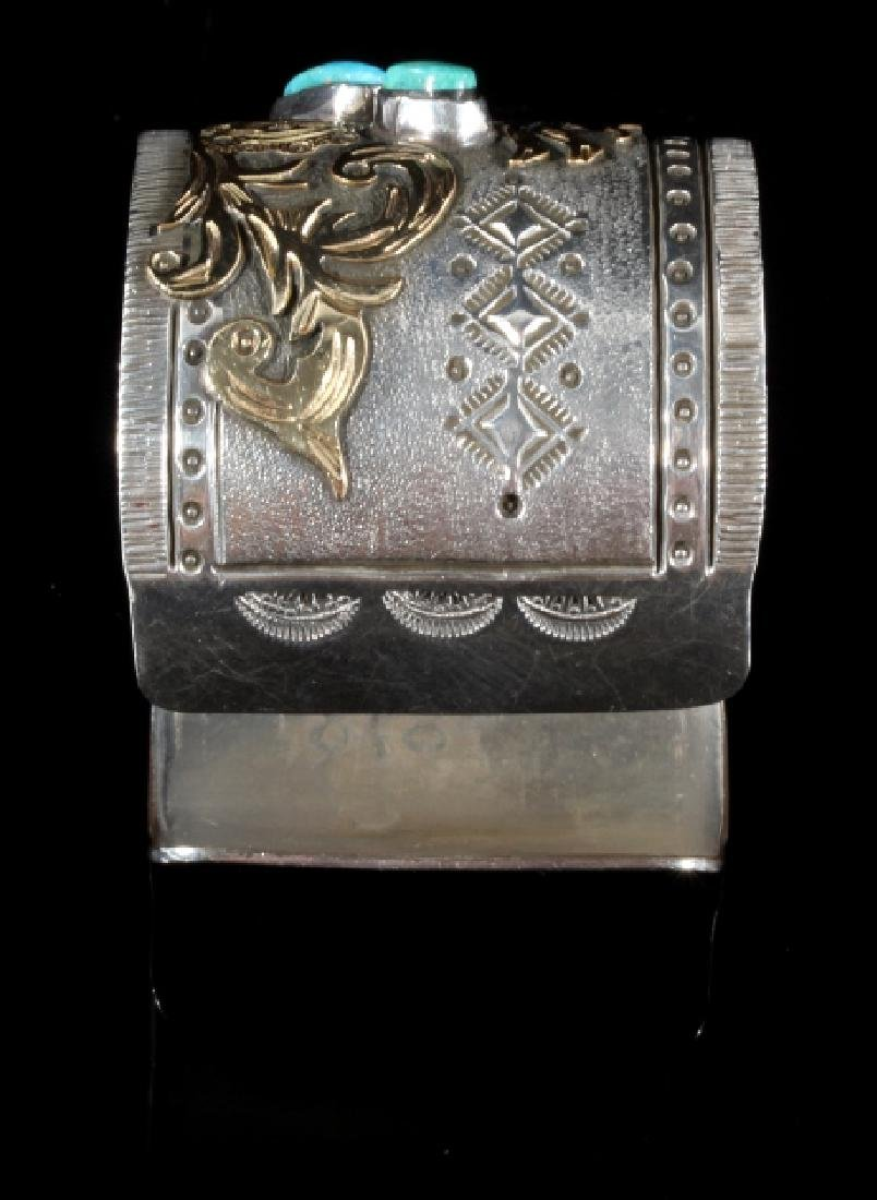 Signed Navajo Sterling & 12k Gold Pictorial Cuff - 10