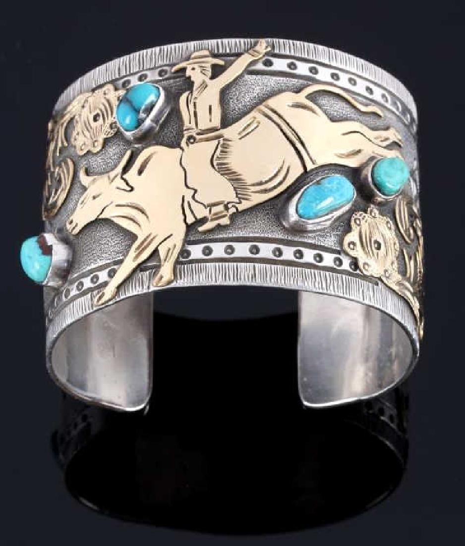 Signed Navajo Sterling & 12k Gold Pictorial Cuff