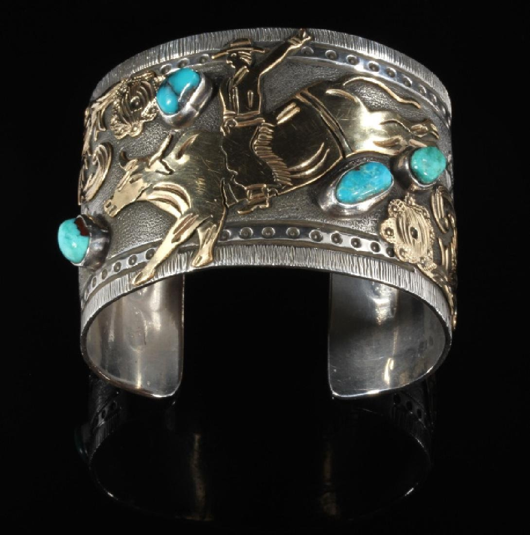 Signed Navajo Sterling & 12k Gold Pictorial Cuff - 2