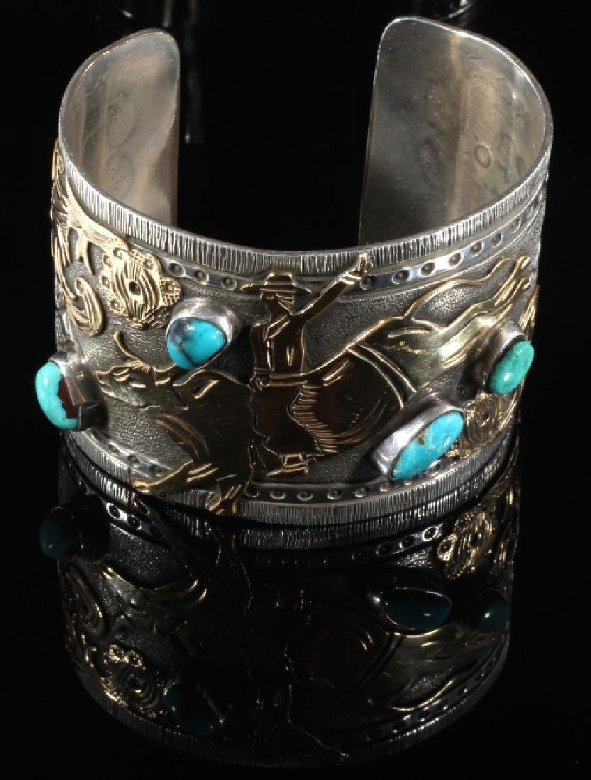 Signed Navajo Sterling & 12k Gold Pictorial Cuff - 3