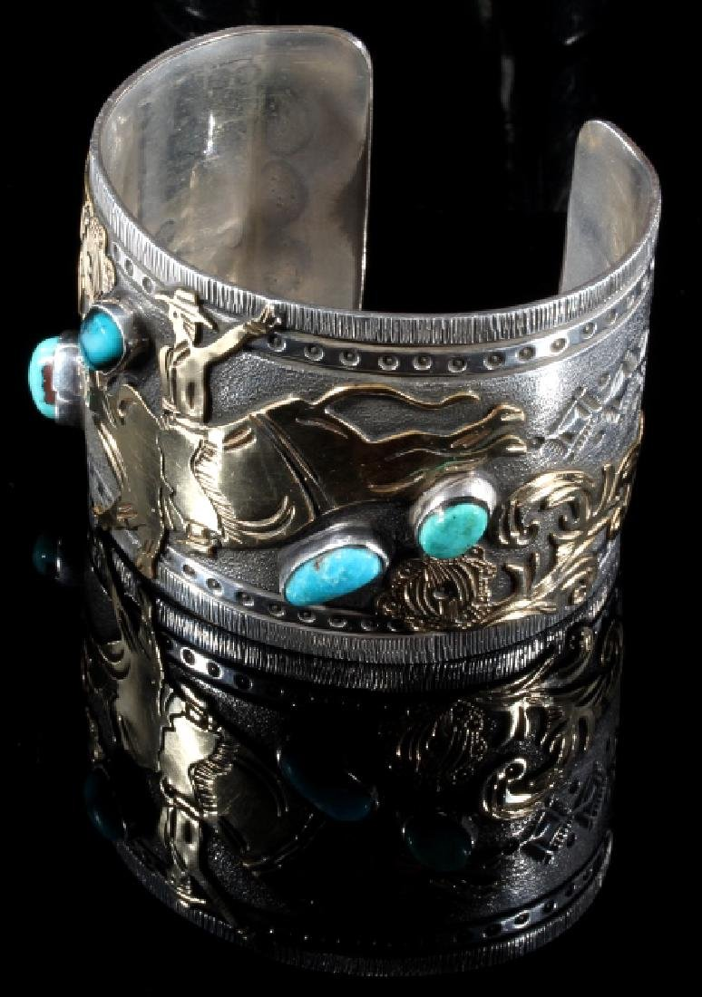 Signed Navajo Sterling & 12k Gold Pictorial Cuff - 4