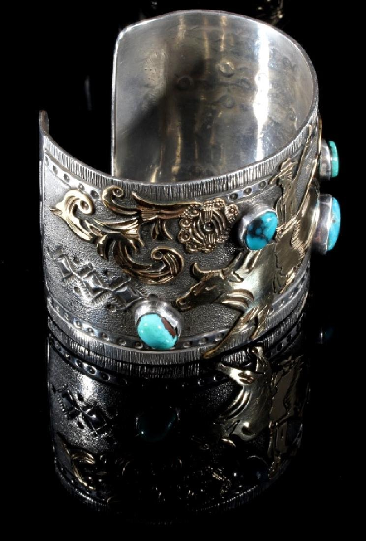 Signed Navajo Sterling & 12k Gold Pictorial Cuff - 5